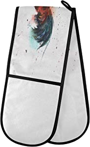 "ZZXXB Watercolor Rooster Double Oven Mitt Heat Resistant Non-Slip Kitchen Gloves Extra Long 7"" x 35"" for Cooking Baking Barbecue Grilling"