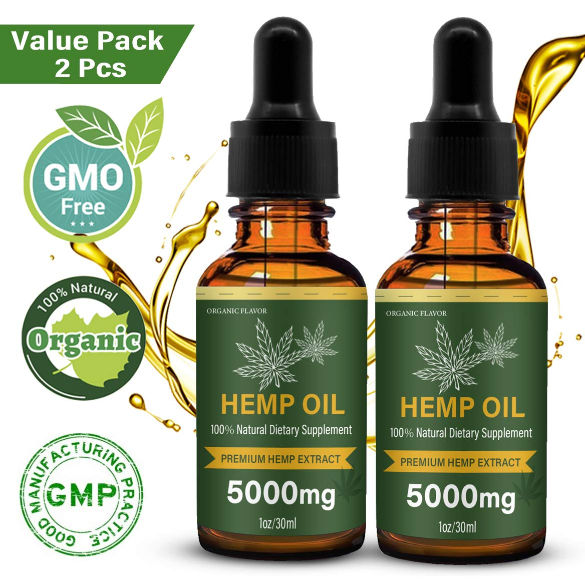 (2-Pack) Hemp Oil Extract for Pain, NaturePlus Anxiety & Stress Relief - 5000mg of Hemp Extract