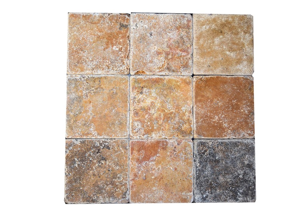 SCABOS TRAVERTINE 4''X4'' TUMBLED TILE - BOX OF 5 SQF