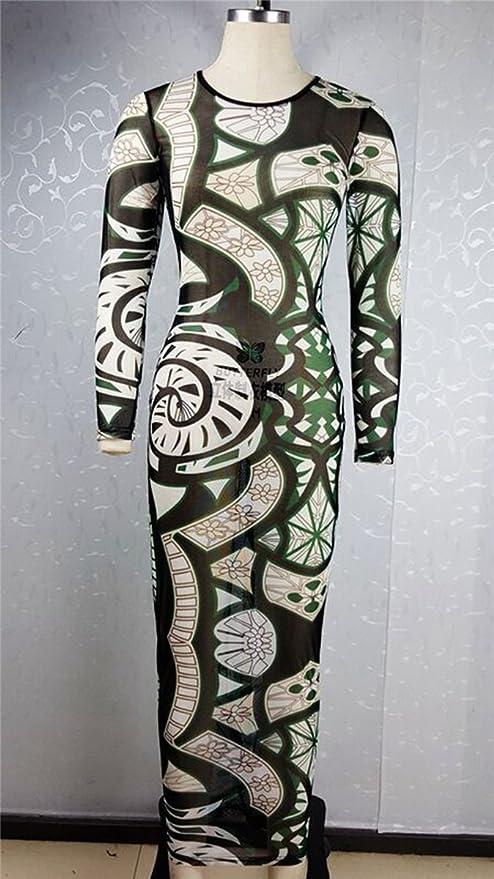 Tattoo print maxi dress