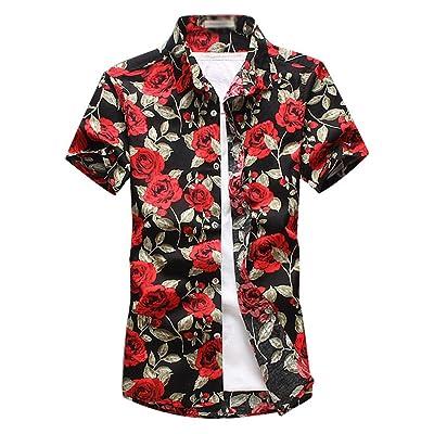 9c9dc78fd8 YuanDian Hombre Verano Casual Tallas Grandes Estampado Flores Manga Corta  Camisas Hawaianas Playa Stretch Suaves Botón Tropical Funky Hawaii Blusas  Shirts