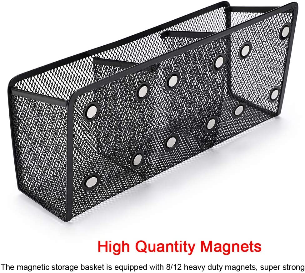 2 Compartments Extra Strong Magnets Mesh Pen Holder Perfect for Refrigerator Whiteboard Office Fridge Locker Generous Compartments Magnetic Sotrage Basket Organizer BTSKY Magnetic Pencil Holder