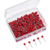 Outus Map Tacks Push Pins 1/ 8 Inch Small Size, 300 Packs (Red)