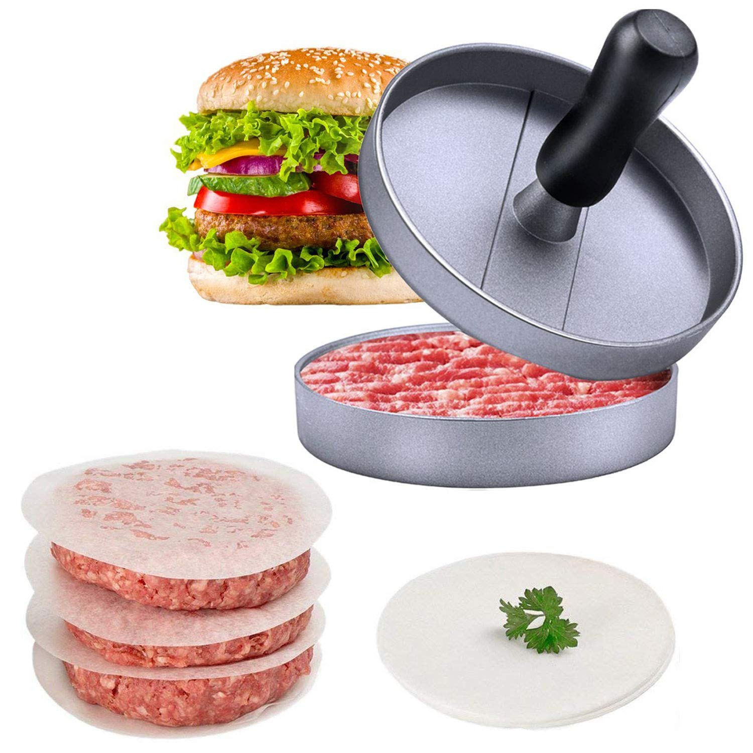 Burger Press for Making Perfect Hamburger Patties | Homemade Aluminum Patty Maker Quarter Pounder with Bonus - 150 Free Non-Stick Wax Discs MEGON