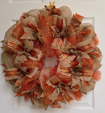 premium handmade harvest deco mesh ribbon wreath large 24 inches