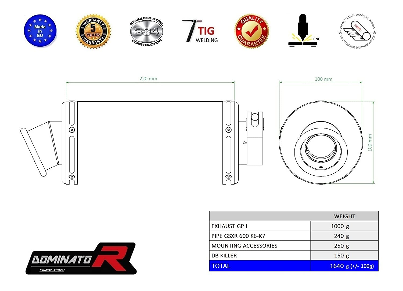 DB Killer Dominator Exhaust silenciador de escape HP3 Suzuki GSXR 600 750 K6 K7 06-07
