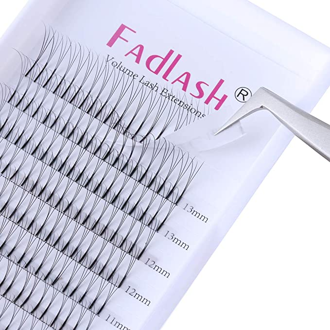 0de55071e6f Russian Lashes Trio 3D 0.10mm C Curl Cluster Individual Eyelash Extensions  Knot Free Premade Flare Volume Lashes by FADLASH: Amazon.co.uk: Beauty