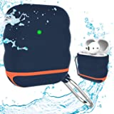 Apple Airpods Case Cover Accessories Kits for AirPods 2 & 1 Charging Case - Waterproof Shock Resistant Protective Silicone Cover Skin with Keychain (Navy)