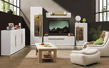Wohnzimmermöbel weiß braun  Wohnzimmer Komplett - Set A Lano, 6-teilig, Farbe: Weiß / Eiche ...