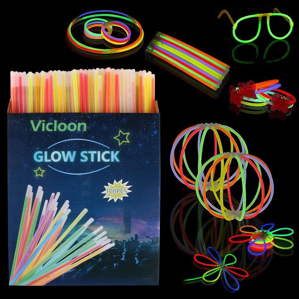 Vicloon Barras Luminosas, Pulseras Luminosas con Variedad de Conectores, Kits para Crear Gafas, Pulseras triples, una Diadema, Bolas Luminosas, Mariposas, una Bola Luminosa Premium.(100pcs)