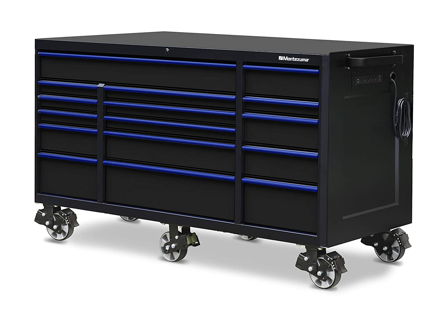 "Montezuma Tool Box - 72"" x 30"" 16 Drawer Rolling Tool Cabinet with Multiple Power Outlets & Black Powder Coat Finish - M723016TC"