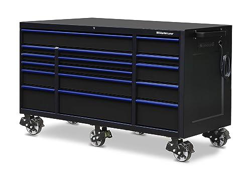 Montezuma Tool Box – 72 x 30 16 Drawer Rolling Tool Cabinet with Multiple Power Outlets Black Powder Coat Finish – M723016TC