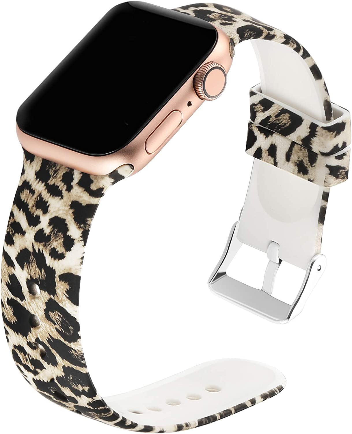 Suppeak Band Compatible with Apple Watch Series 4 Series 3 Series 2 Series 1 38mm 40mm, Women Men Soft Silicone Sport Wristband, Pattern Printed Leopard