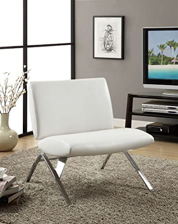 Amazon.Com: Monarch Specialties White Leather And Chrome Modern