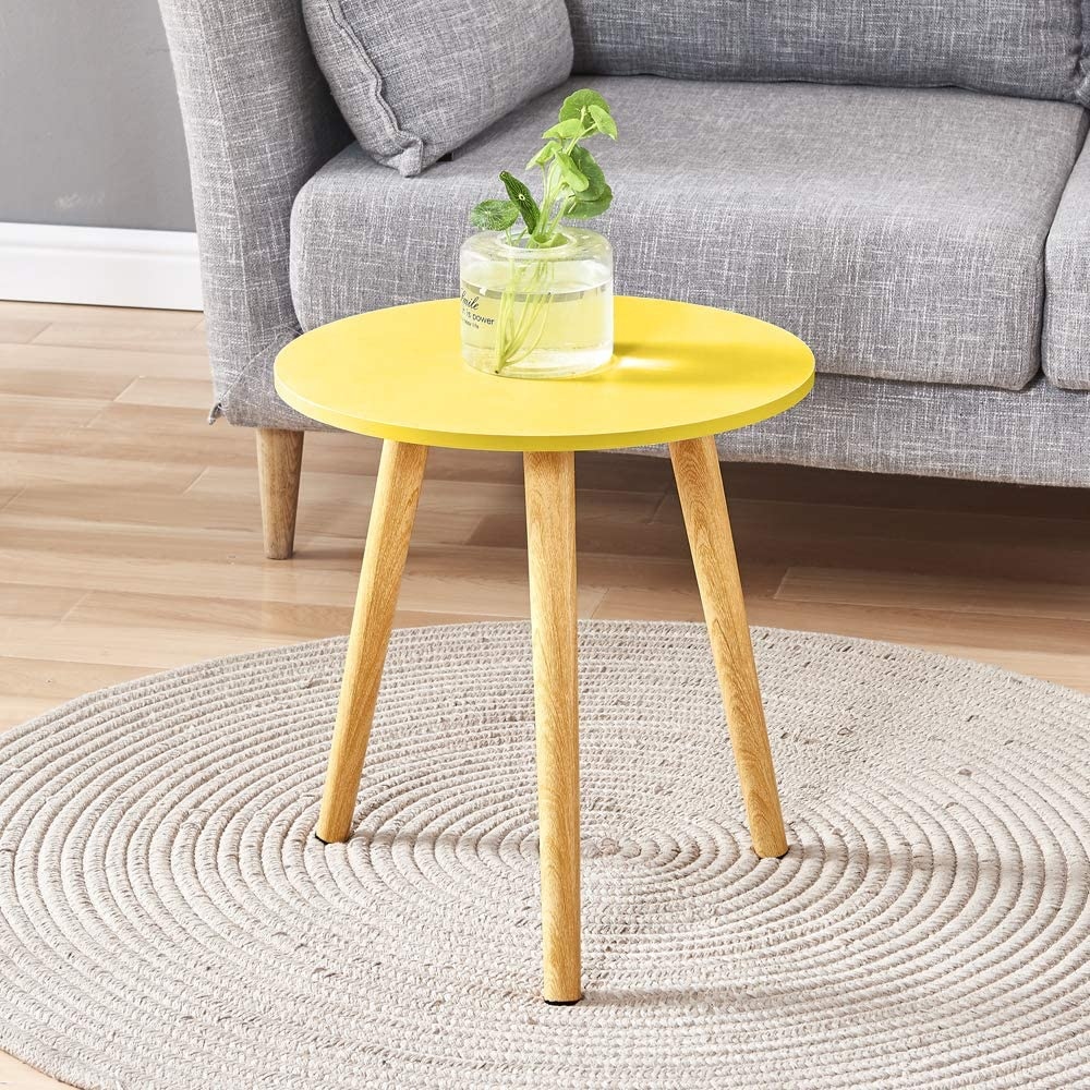 4HOMART Simple Yellow Round Wooden Side Table End Table for Living Room Small Space Coffee Table Sofa Table Bedside Table