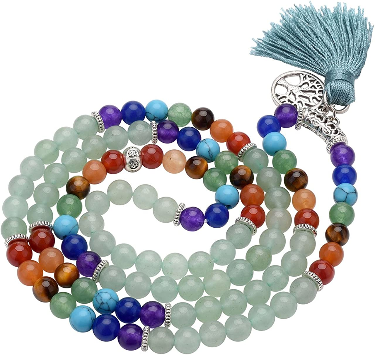 Top Plaza 7 Chakra Mala Prayer Beads 108 Meditation Healing Multilayer Bracelet//Necklace W//Tree of Life Tassel Charm