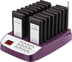Restaurant Guest Paging System, 16 Restaurant Call Pagers, Buzzers, Vibration, LED Flashing Light, Wireless Calling System with Charging Dock and Transmitter for Food Truck, Church, Hospital, Clinic