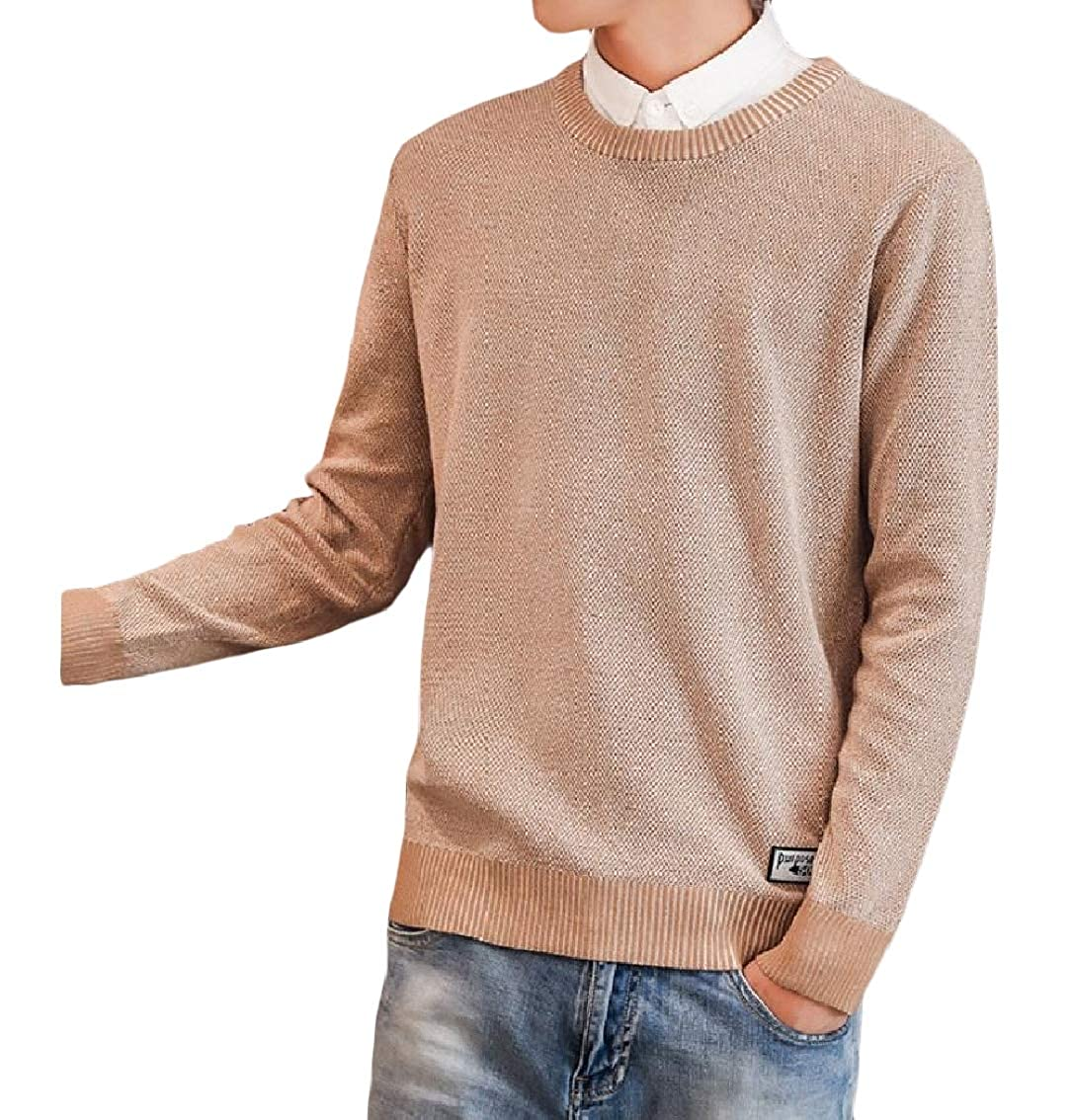 Coolred-Men Round Neck Long Sleeve Knitted Pure Colour Warm Casual Sweater Top