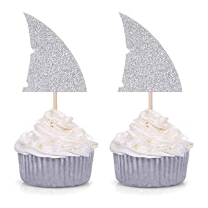 Set of 24 Silver Glitter Shark Fin Cupcake Toppers/Picks for Baby Shower Wedding Birthday Party Decorations