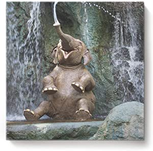 YEHO Art Gallery Painting Canvas Wall Art Artwork Home Decor,Funny The Elephant's Nose is Spraying Water Picture,Stretched by Wooden Frame,Ready to Hang,12 x 12 Inch