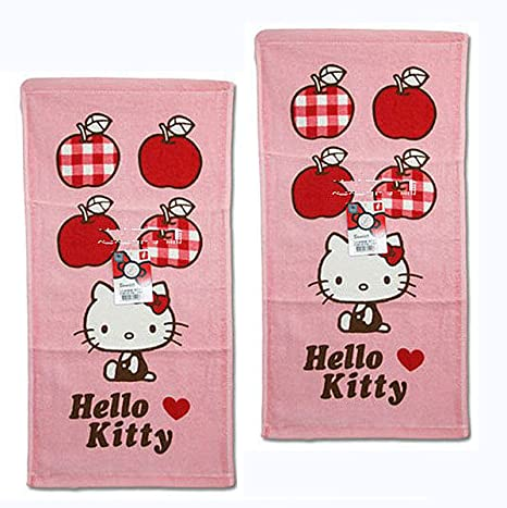 Rosa Hello Kitty toalla de mano con estampado Apple gráfica (Set de 2)