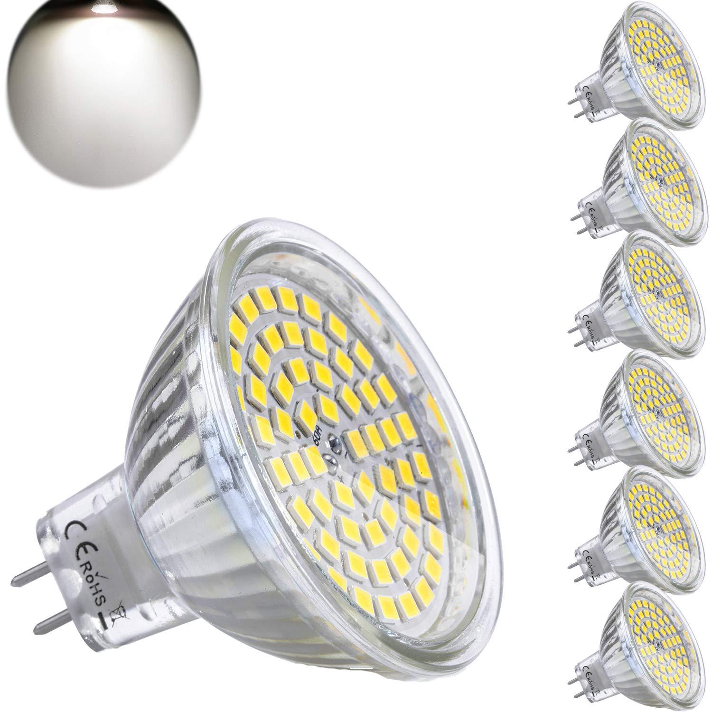 Yafido 6x MR16 GU5.3 LED 12V Blanc Froid Ampoule 5W Douille Equivalent /à 35W Halog/ène Lampe 6000K GU 5.3 MR 16 450 Lumen Spot 120/°Faisceaux Non-dimmable /Ø50 x 48 mm (Lot de 6)