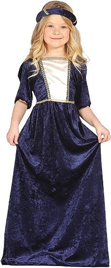 Guirca - Disfraz medieval con vestido y diadema, para niños de 5-6 ...