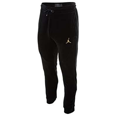 05fda569b1a Jordan Men's Sportswear Velour Pants Black/Metallic Gold/Metallic Gold  (Small)