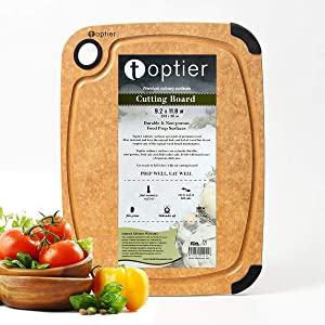 Cutting Board, TOPTIER Wood Fiber Cutting Board for Kitchen, BPA Free, Dishwasher Safe, Reversible, Juice Groove, Eco-Friendly, Non Porous, Natural Small Cutting Board, 11.5 x 9.25-inch, Natural Slate