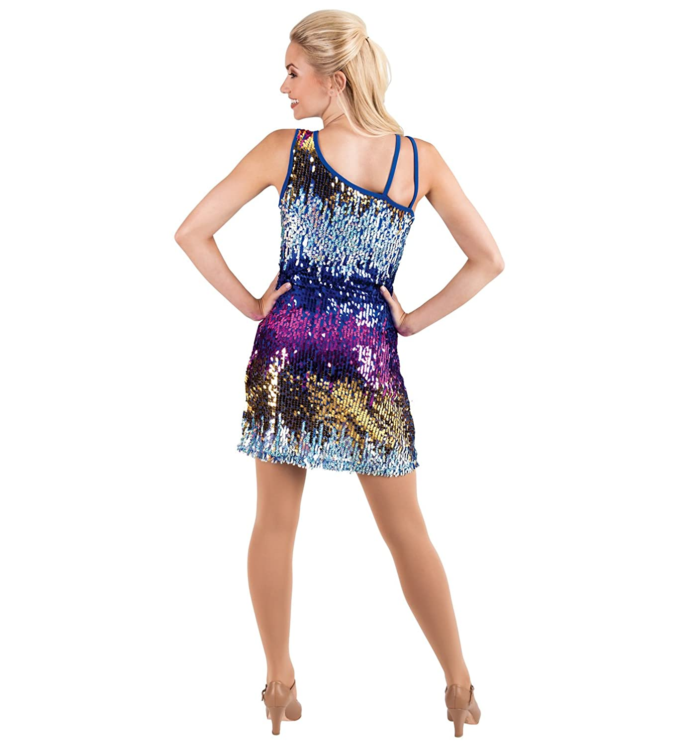 Amazon.com: Adult Sequin One Shoulder Dress,N7040: Clothing