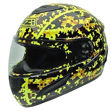 NZI 050263G679 Gara Casco de Moto, Diseño Camuflaje de Pixeles Negros y Flúor, Talla