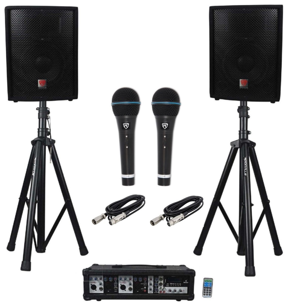 Rockville RPG2X10 Package PA System Mixer/Amp+10'' Speakers+Stands+Mics+Bluetooth