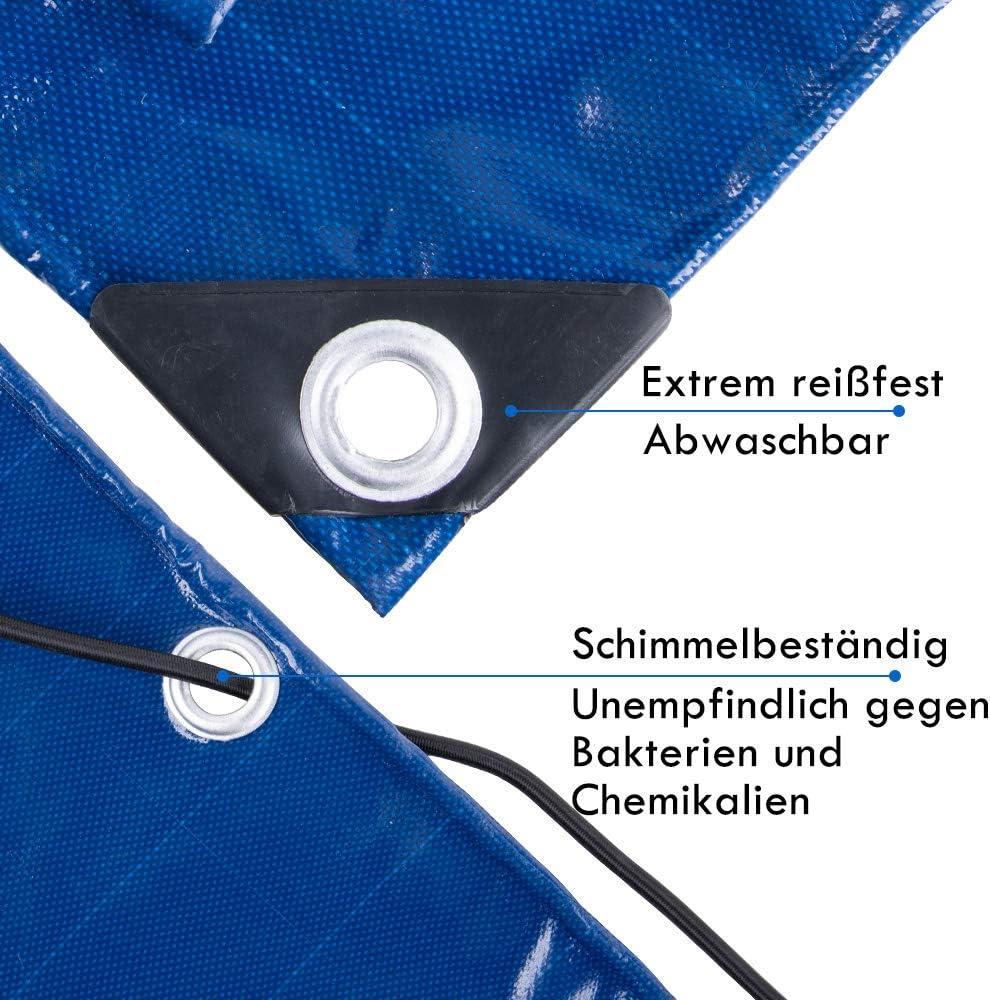 bleu tissu PVC 2,5 x 1,4 m b/âche avec /œillets 2 x 6,5 m imperm/éable Goture B/âche de remorque plate pour remorque de voiture corde en caoutchouc 500 g//m/² bleu
