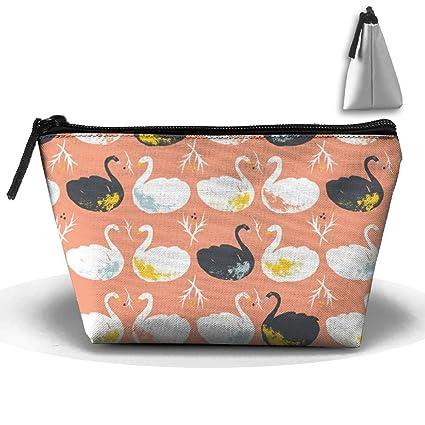 Negro y Blanco cisne bolso de viaje para maquillaje neceser bolsa de portátil con cremallera y