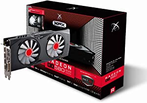 XFX RX-580P8DFWR GTR Radeon RX 580 8GB XXX Edition 1366 Mhz OC, 1386Mz Boost Overclock Graphics Core GDDR5 White LED Hardswap Replacement Fan Technology with 3 x DP 1 x HDMI 1 x DVI PCI-E Video Card
