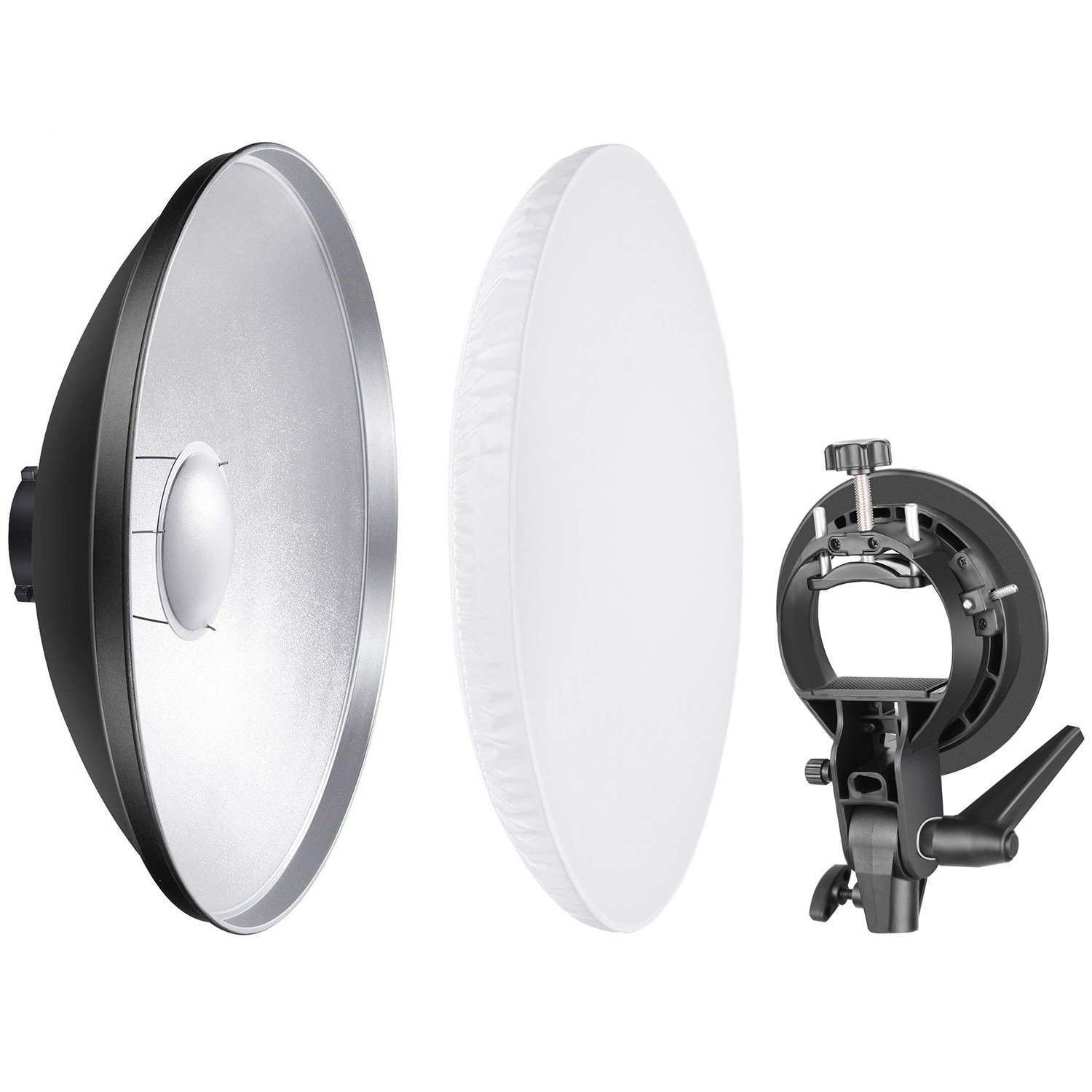 Neewer Photo Studio 16 inches/41 Centimeters Beauty Dish Aluminum Lighting Reflector with White Diffuser and S-Type Flash Speedlite Bracket Bowens Mount for Nikon Canon Sony and Other DSLR Cameras by Neewer