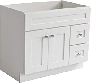 Design House 559039 Brookings Unassembled/RTA Modern Shaker Vanity Cabinet Only, 33 x 24, White