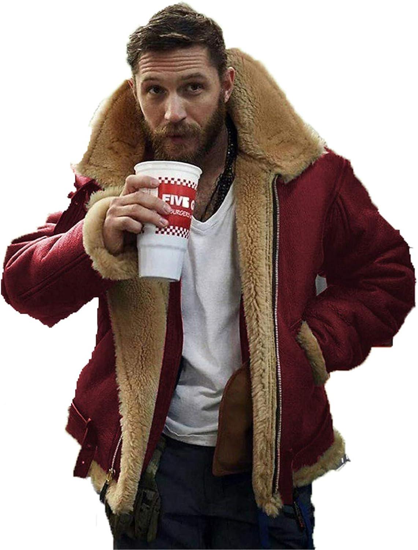 PU PU Vintage Suede Sheepskin Jacket Chaqueta Polo Collar Faux Furle Fleece Forro Sheearling Flowen Winter Warm Abrigo Outwear,Rojo,XL