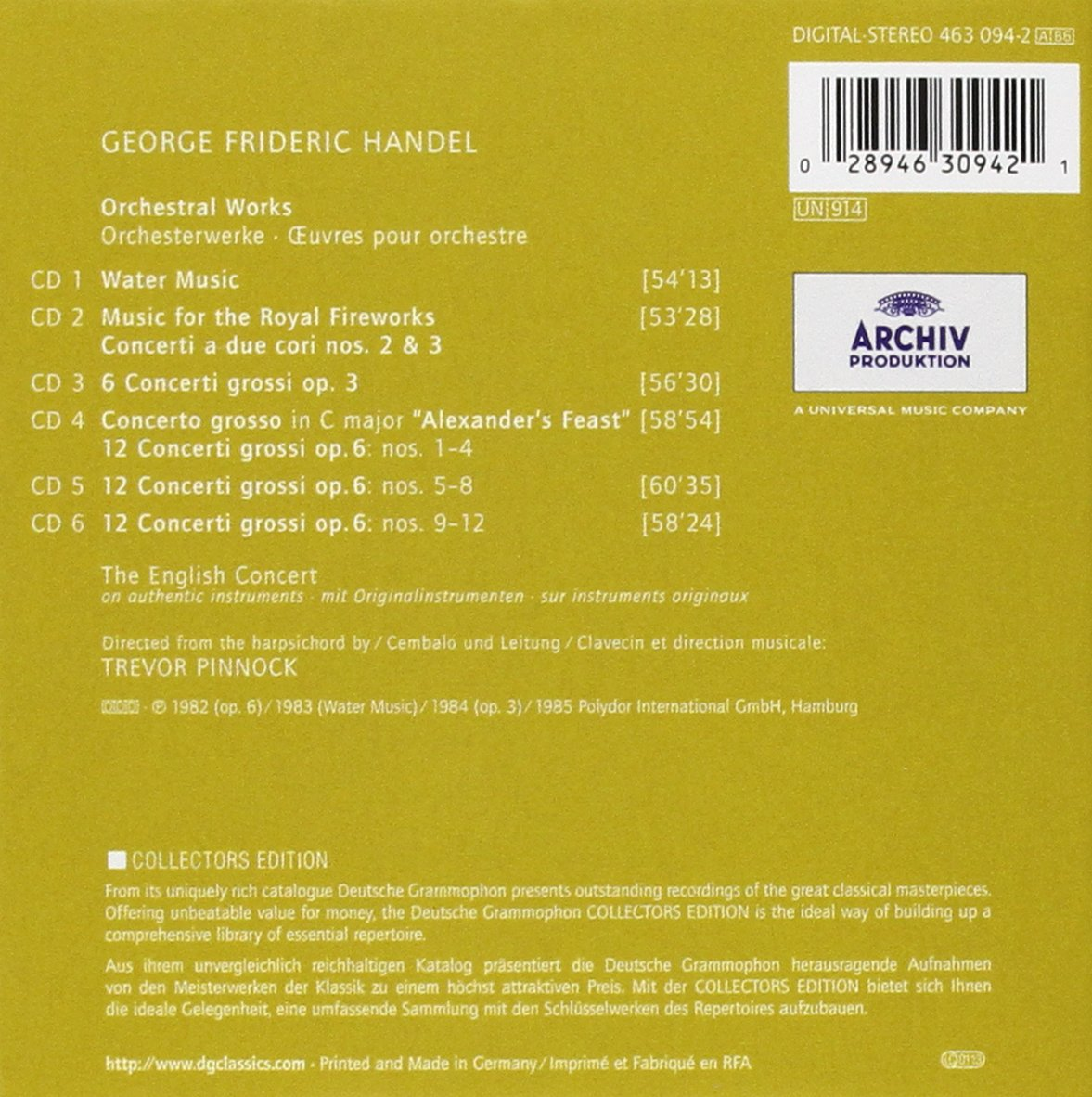 George Frideric Handel, Trevor Pinnock, The English Concert - Handel: Orchestral Works - Amazon.com Music