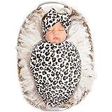 Baby Newborn Receiving Blanket with Headband Set Leopard Print Babies Swaddle Receiving Blankets