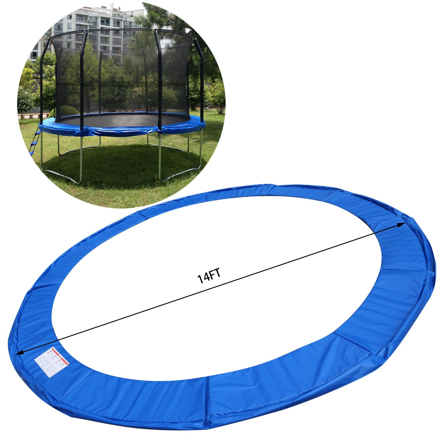 15 14 12 10 Ft Replacement Trampoline Surround PVC Pad Foam Safety Spring Cover Padding Pads (Blue, 15 Ft) by Zafuar Sports (Image #2)