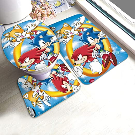 Amazon Com 3 Pieces Bath Mats Set For Wedding Party Skidproof Bathroom Rugs Toilet Seat Mat Toilet Cover For Home Spa 80s 90s Soft Shower Rugs With Empire Sonic The Hedgehog Poster Kitchen