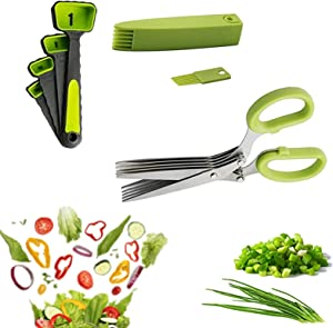 UMIKAkitchen 5-layer Herbal Scissors Set-A cool kitchen tool for cutting fresh garden herbs-3 piece set with 4 measuring spoons, dishwasher safe lawn mower scissors(green)