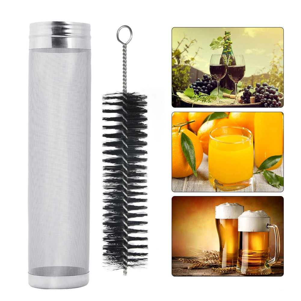 11x3Inch Stainless Steel Beer Dry Hopper Filter With 300 Micron Mesh For Homebrew Cornelius Kegs Corny Keg - Silver(Included Brush)