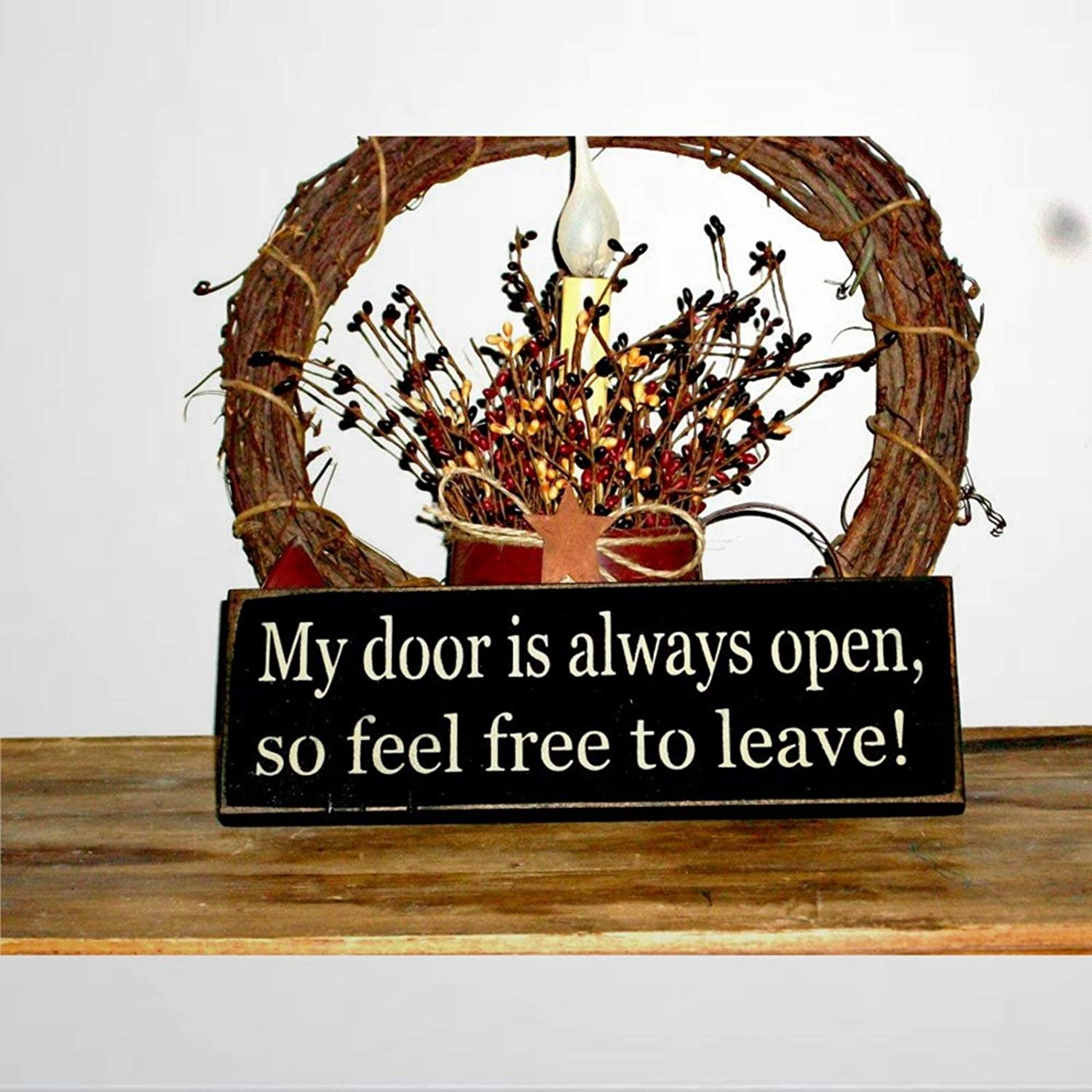 BYRON HOYLE My Door is Always Open Wood Sign,Wooden Wall Hanging Art,Inspirational Farmhouse Wall Plaque,Rustic Home Decor for Living Room,Nursery,Bedroom,Porch,Gallery Wall