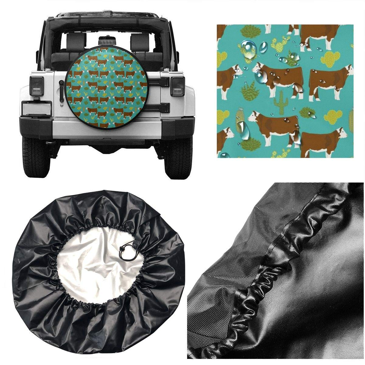 TRENDCAT Tire Cover Hereford Cow Canvas Potable Polyester Universal Spare Wheel Tire Cover Wheel Covers for Jeep Trailer RV SUV Truck Camper Travel Trailer Accessories 14,15,16,17 Inch