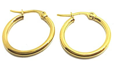 Vonchic 9ct Gold Plated Hinged Hoop Sleeper Creole Earrings 12mm 15mm 18mm Q5b6L8xO