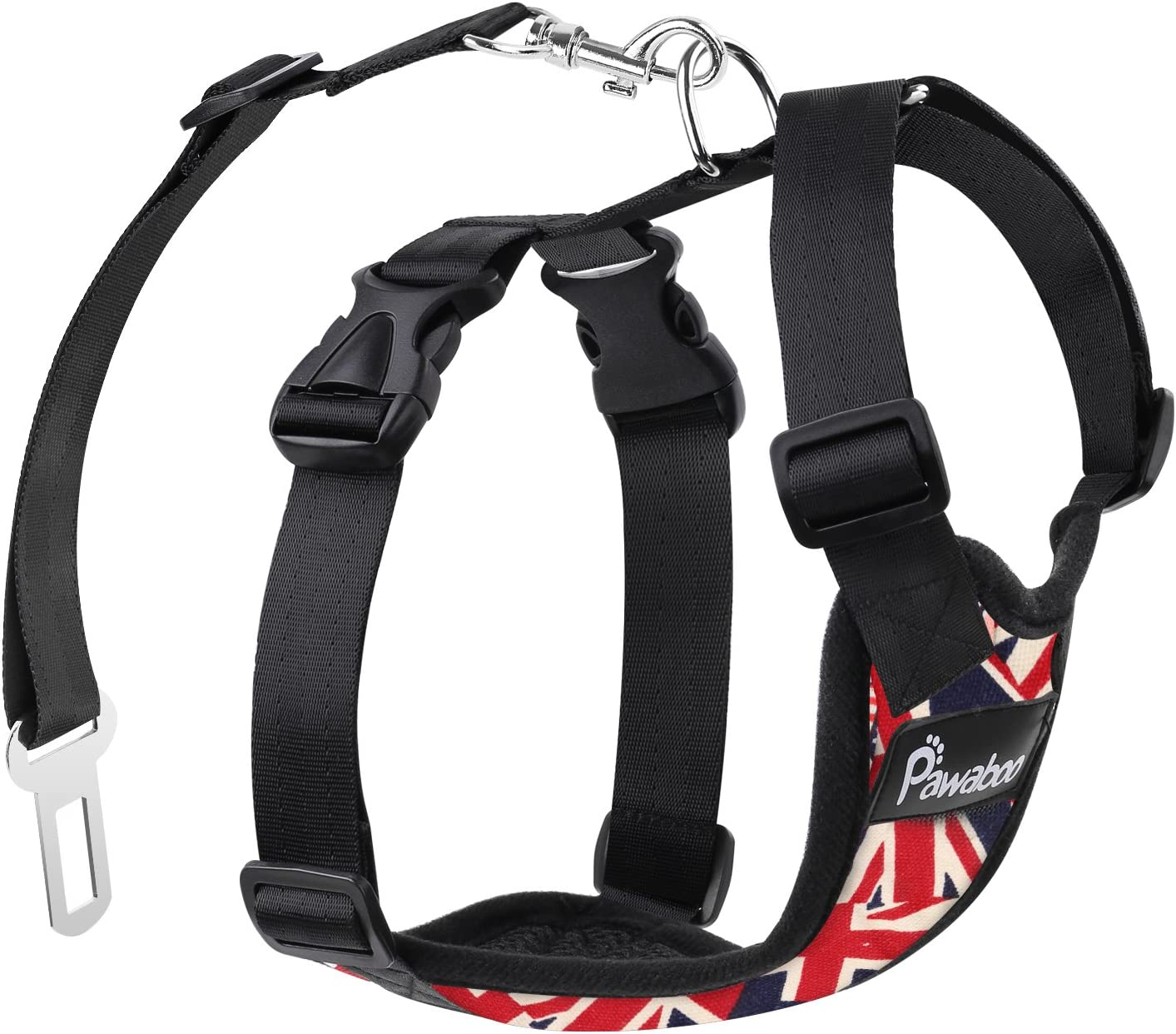 XL Blue//White Stripes Pawaboo Dog Safety Vest Harness Easy Control for Driving Traveling Safety for Small Medium Dogs Cats Pet Car Harness Vehicle Seat Belt with Adjustable Strap and Buckle Clip