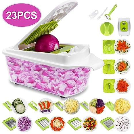 Sedhoom 23 Piezas Cortador de Verdura Mandolina de Verduras Multifuncional Mandolina de Cocina Slicer Espiral Rallador de Cuchillas Acero ...