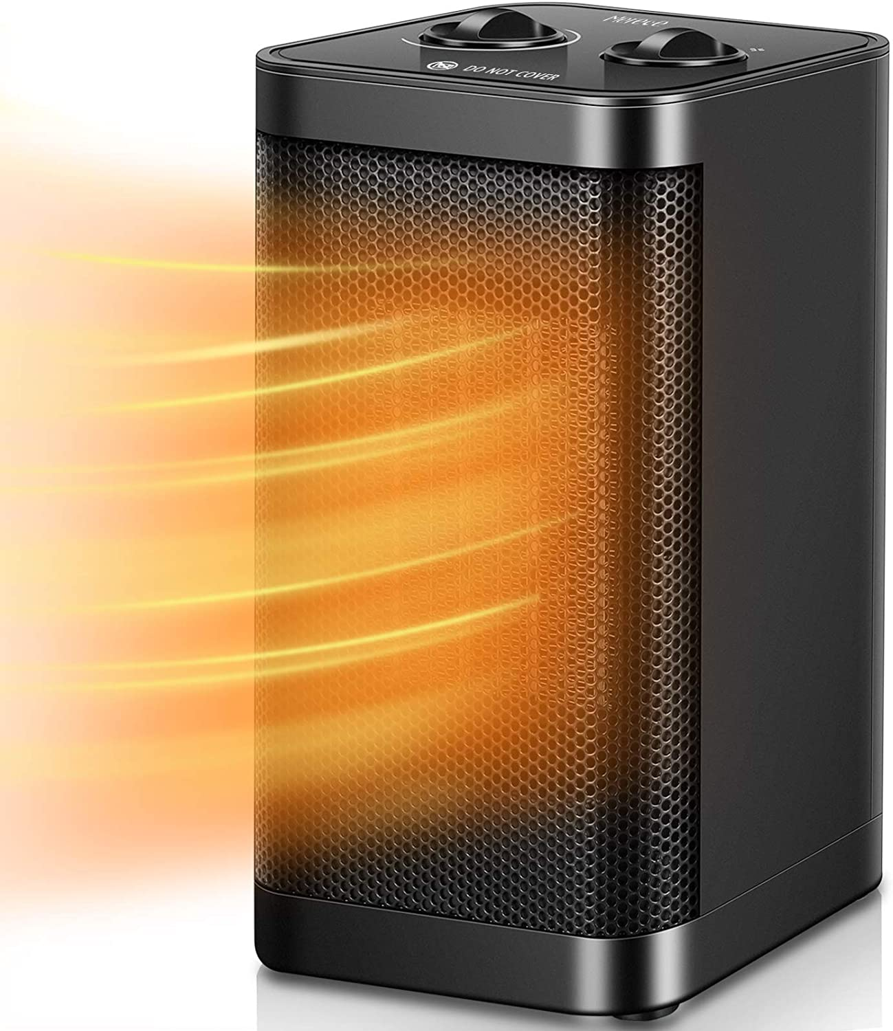 Electric Space Heater - Merece 1500W PTC Portable Space Heaters for Indoor Use Home Office Bedroom Garage with Thermostat, Small Desk Room Heater 3 Modes with Tip-Over and Overheat Auto Off(160 sq ft)